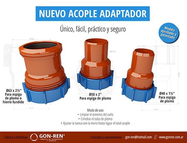Acople adaptador para ca o sin cabeza proveex for Como colocar una mochila de inodoro